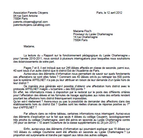 lettre au directeur du lycée